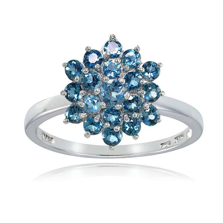Sterling Silver Genuine London Blue Topaz Flower Ring