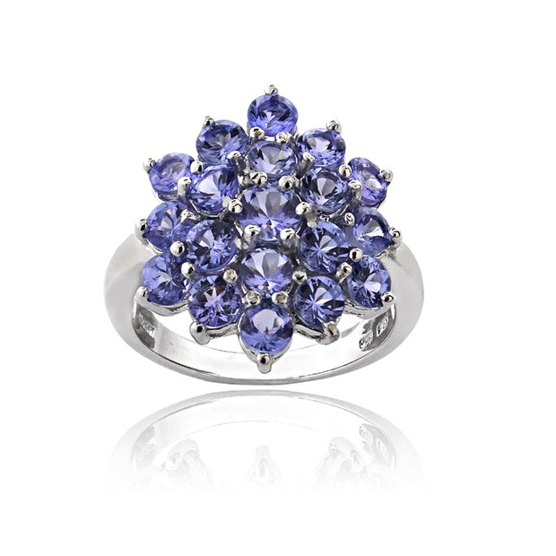 Sterling Silver 2.ct TGW Tanzanite Flower Ring