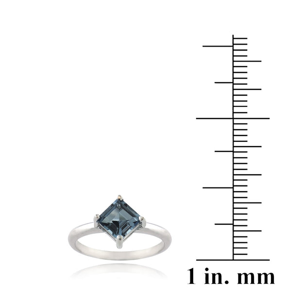 Sterling Silver Square London Blue Topaz Diamond Shape Ring