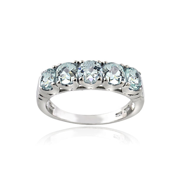 Sterling Silver Aquamarine Half Eternity Band Ring