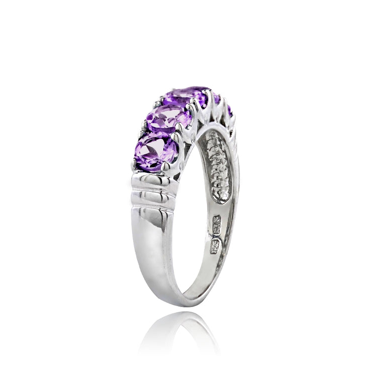 Sterling Silver Amethyst Half Eternity Band Ring