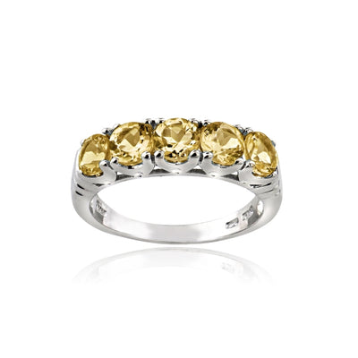 Sterling Silver Citrine Half Eternity Band Ring, Size 10