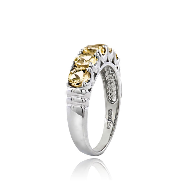 Sterling Silver Citrine Half Eternity Band Ring,