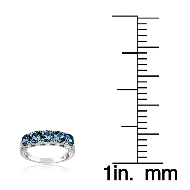 Sterling Silver London Blue Topaz Half Eternity Band Ring
