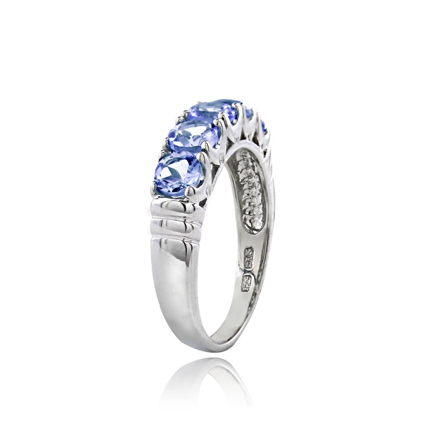 Sterling Silver Tanzanite Half Eternity Band Ring