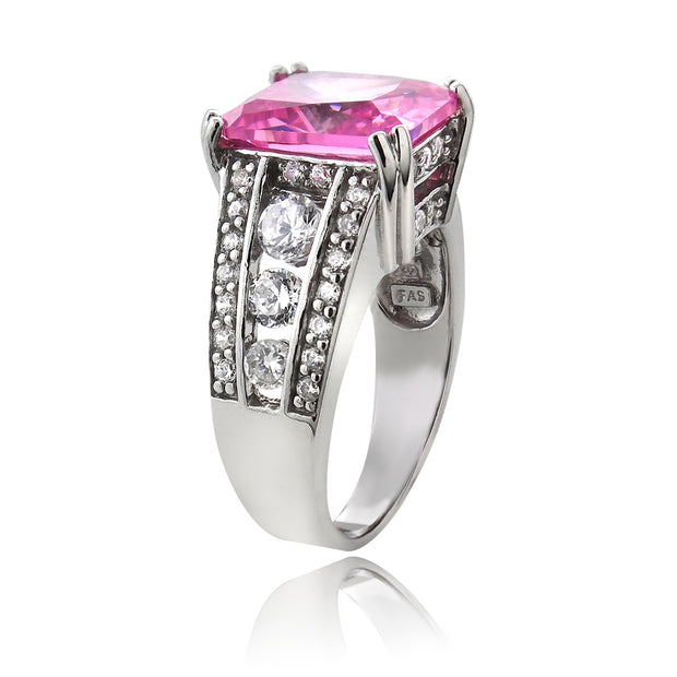 Sterling Silver .ct Light Pink CZ Emerald-Cut Estate Ring