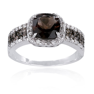 Sterling Silver 1/2 Carat tdw Champagne Diamond & 3.35ct TGW Smokey Quartz Ring