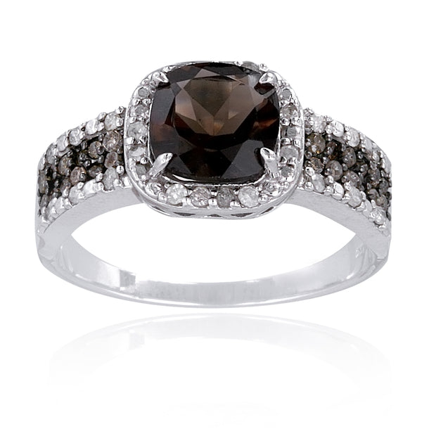 Sterling Silver 1/2 ct tdw Champagne Diamond & 3.3ct TGW Smokey Quartz Ring
