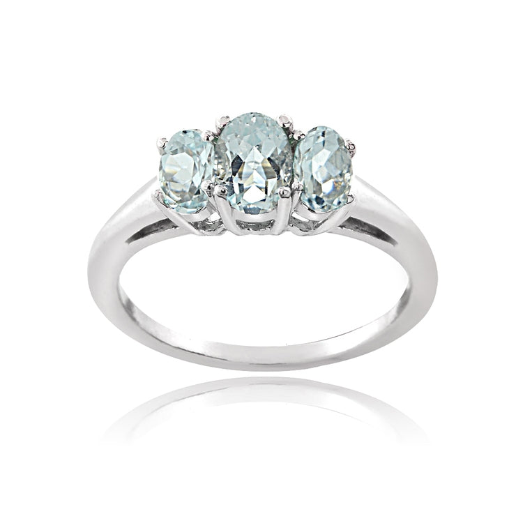 Sterling Silver 1 ct Aquamarine 3-Stone Ring