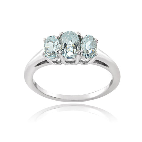 Sterling Silver 1ct Aquamarine 3-Stone Ring