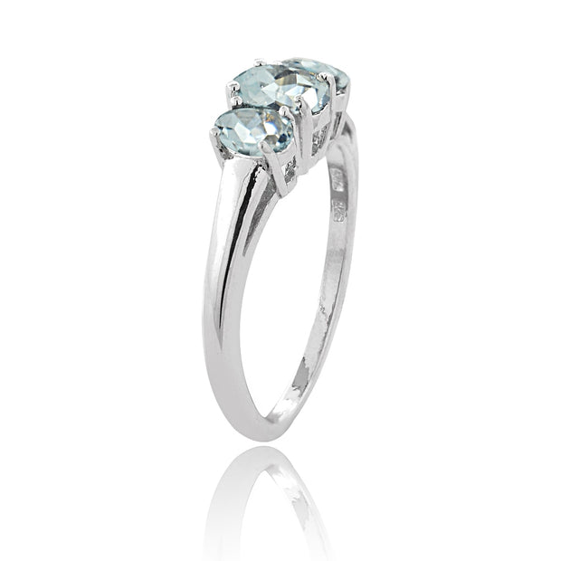 Sterling Silver 1 Carat Aquamarine 3-Stone Ring