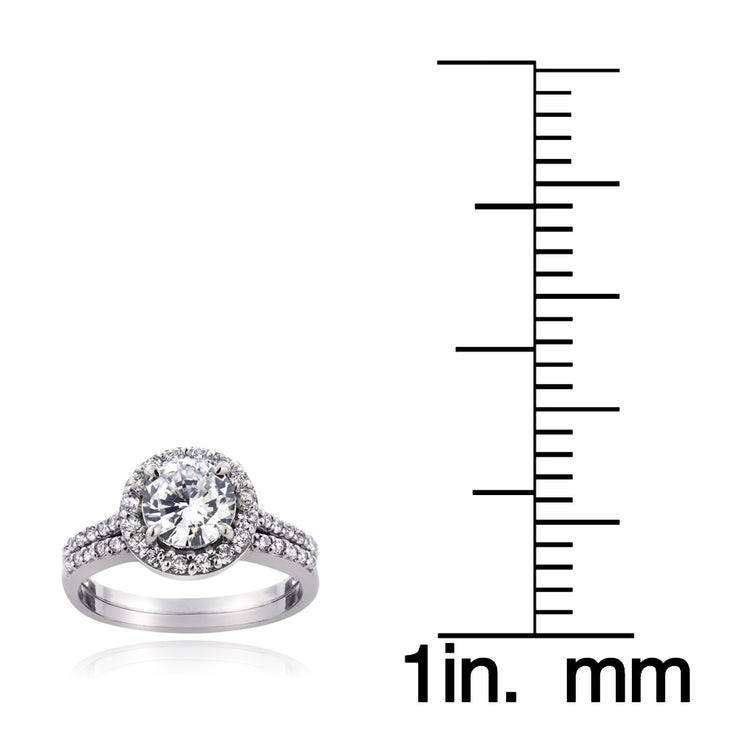 Sterling Silver 1 1/3ct CZ Bridal Engagement Ring Set