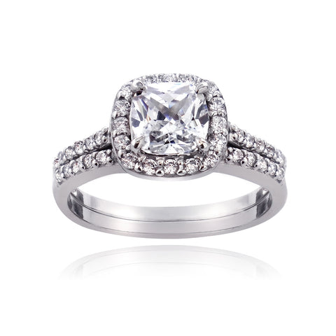 Sterling Silver 1.7ct CZ Cushion-Cut Bridal Engagement Ring Set