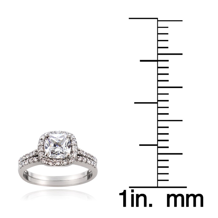 Sterling Silver 1.ct CZ Cushion-Cut Bridal Engagement Ring Set