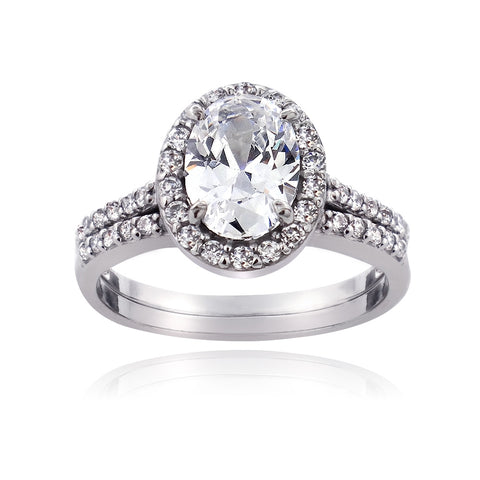Sterling Silver 1.75ct CZ Oval Bridal Engagement Ring Set