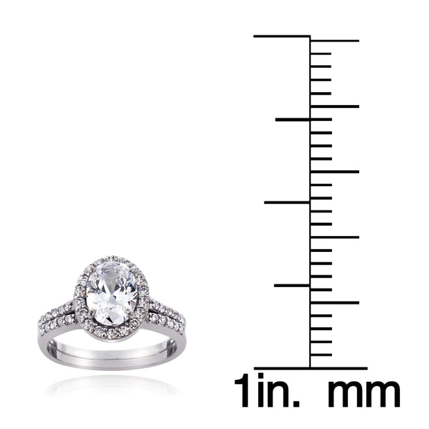 Sterling Silver 1.ct CZ Oval Bridal Engagement Ring Set