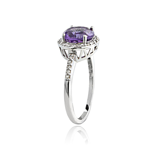Sterling Silver 1.ct Amethyst & 1/ct Diamond Solitaire Ring