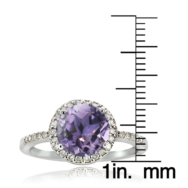 Sterling Silver 1.85ct Amethyst & 1/6ct Diamond Solitaire Ring