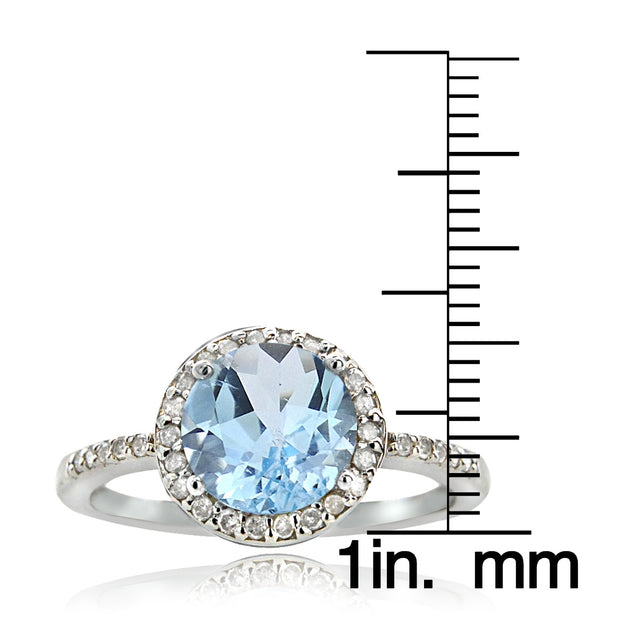 Sterling Silver 2.ct Blue Topaz & 1/ct Diamond Solitaire Ring