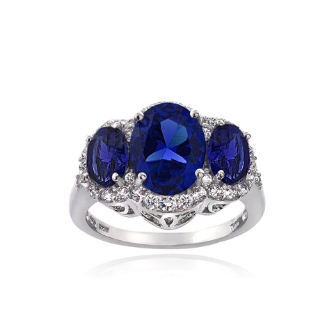 Sterling Silver 4.15ct Created Blue & White Sapphire 3-Stone Ring