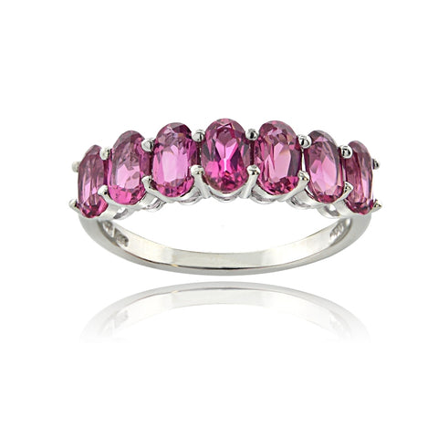 Sterling Silver 1.75 Ct Pink Tourmaline Oval Half Eternity Band Ring