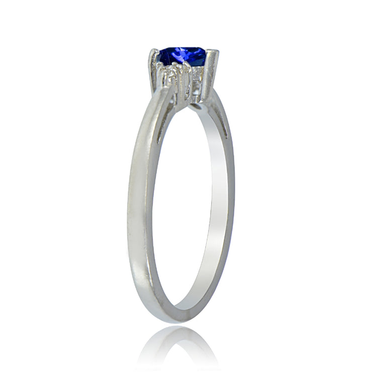 Sterling Silver Created Blue Sapphire and White Topaz Trillion-Cut Ring