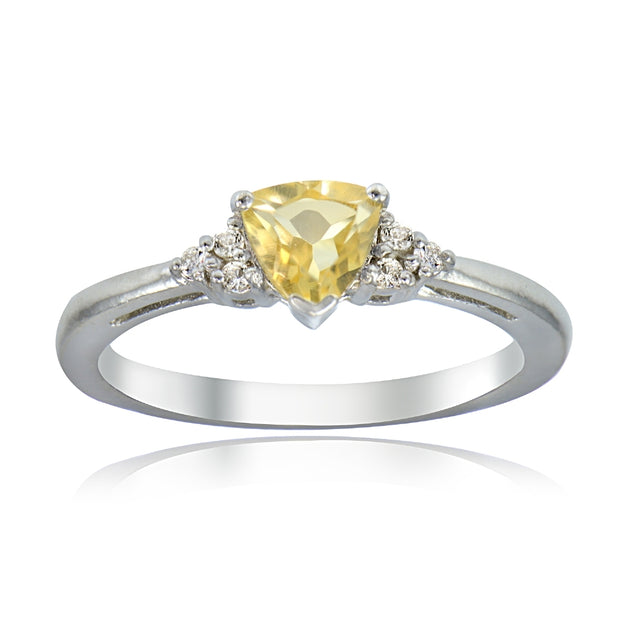 Sterling Silver Citrine and White Topaz Trillion-Cut Ring,