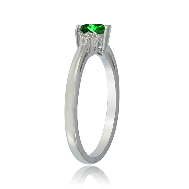 Sterling Silver Simulated Emerald and White Topaz Trillion-Cut Ring, Size 10