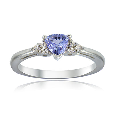 Sterling Silver Tanzanite & White Topaz Trillion-Cut Ring