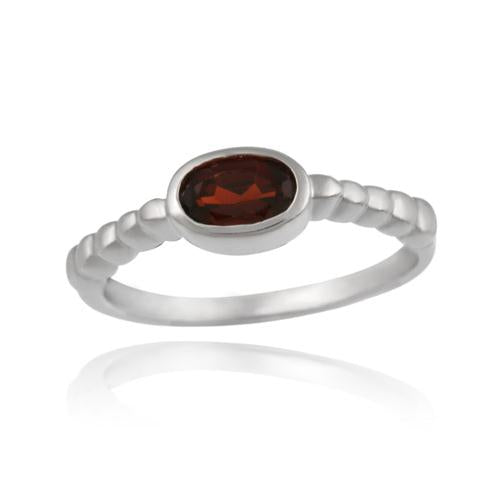 Sterling Silver Garnet Oval Solitaire Ring
