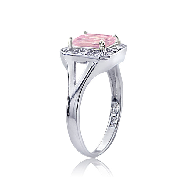 Sterling Silver Created Pink Opal & Cubic Zirconia Square Ring,