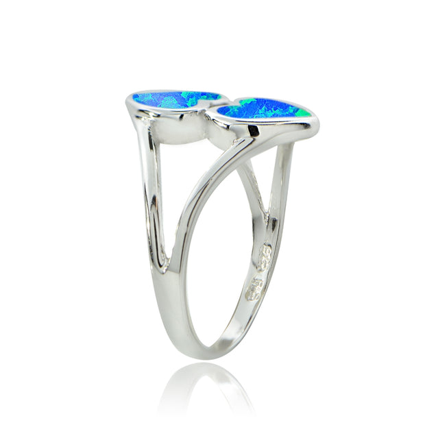Sterling Silver Created Blue Opal Heart Ring,