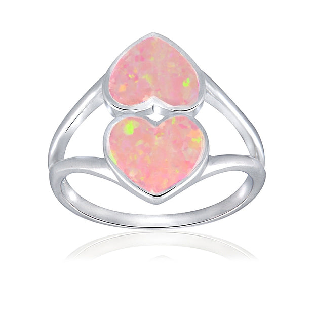 Sterling Silver Created Pink Opal Heart Ring,