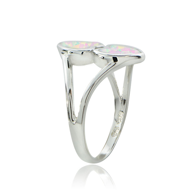 Sterling Silver Created White Opal Heart Ring,