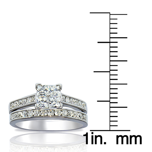 Sterling Silver 2 ct tdw Cubic Zirconia Ring Set