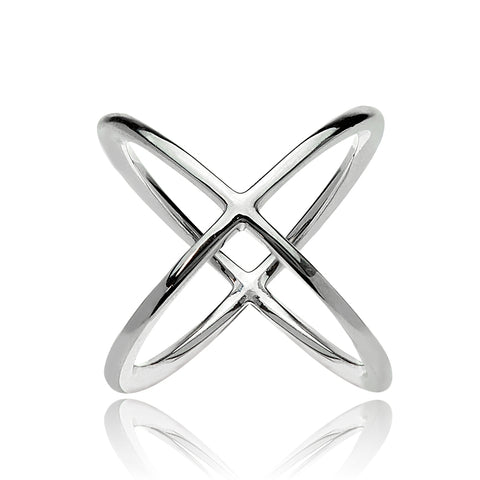 Sterling Silver Polished Criss-Cross X Ring