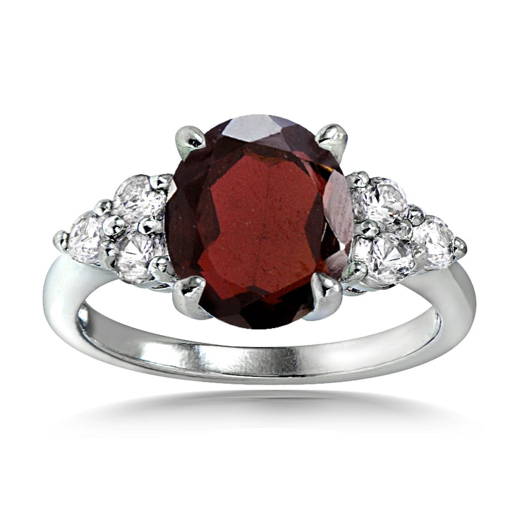 Sterling Silver 3.3ct Garnet and White Topaz Oval Ring