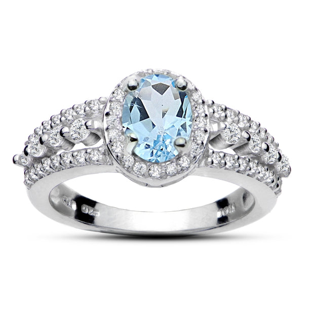 Sterling Silver Blue Topaz and White Topaz Oval Ring