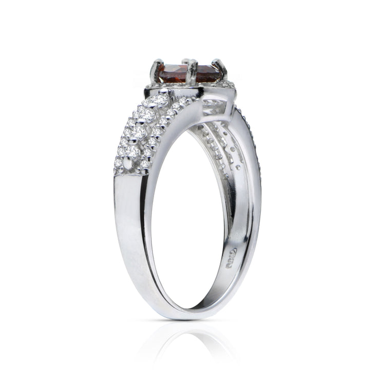 Sterling Silver Garnet and White Topaz Oval Ring
