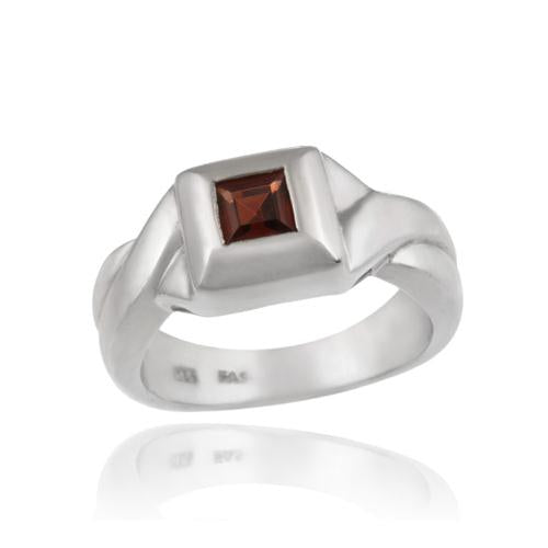 Sterling Silver Square Garnet Ring