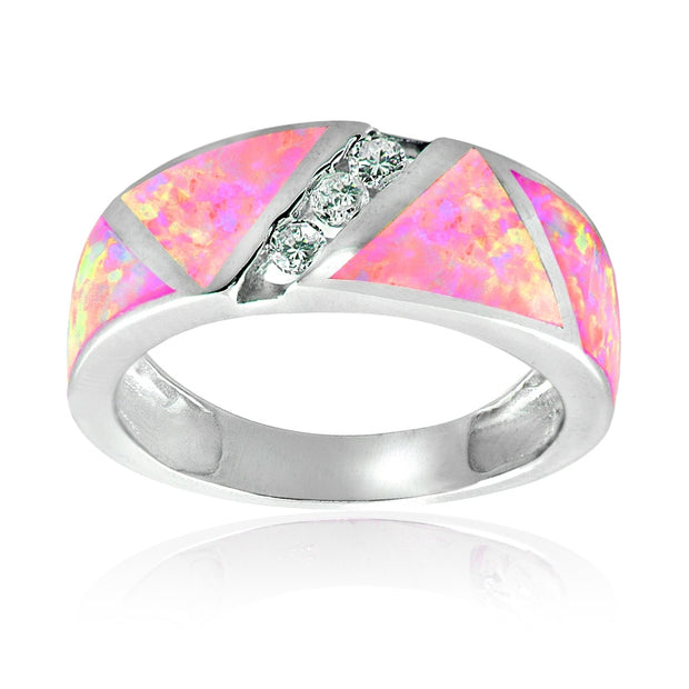 Sterling Silver Created Pink Opal & Cubic Zirconia Band Ring,