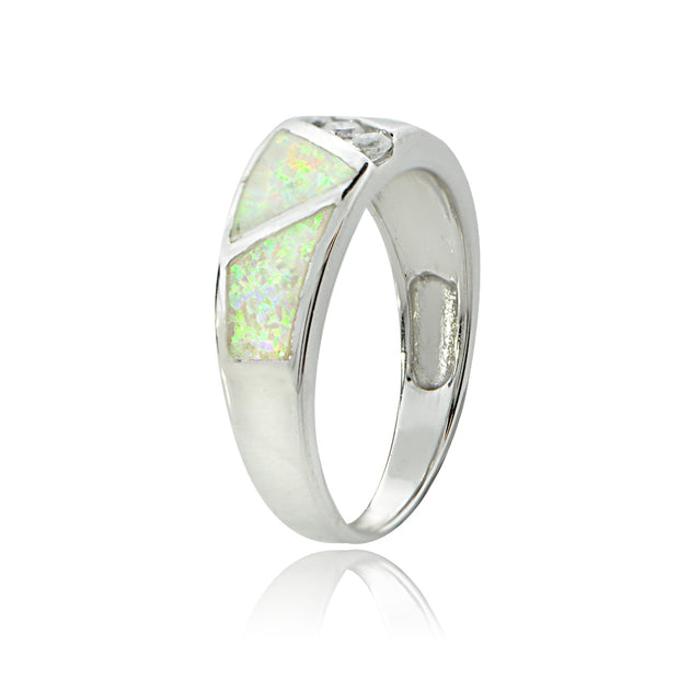 Sterling Silver Created White Opal & Cubic Zirconia Band Ring,