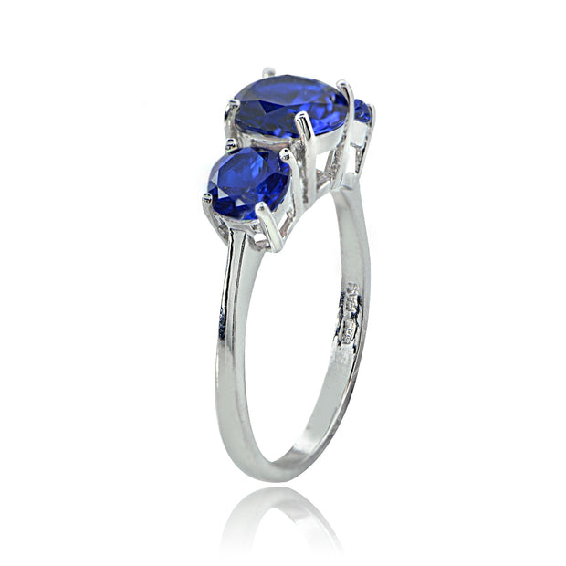 Sterling Silver Created Blue Sapphire Round-Cut Three Stone Ring