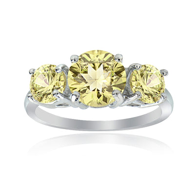 Sterling Silver Citrine Round-Cut Three Stone Ring