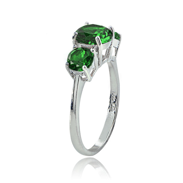 Sterling Silver Created Emerald Round-Cut Three Stone Ring