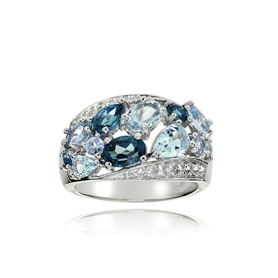 Sterling Silver London Blue, Swis Blue and White Topaz Cluster Tonal Ring