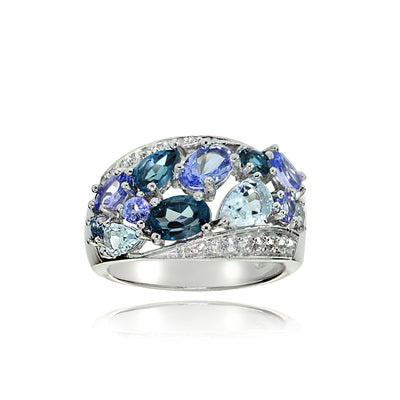 Sterling Silver Tanzanite, Aquamarine, London Blue and White Topaz Cluster Tonal Ring
