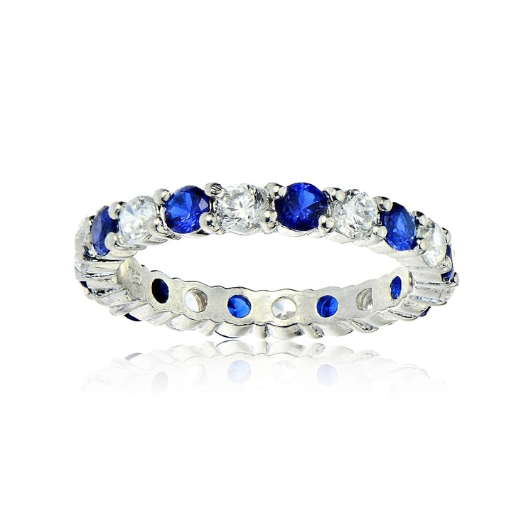 Sterling Silver Created Blue Sapphire and Cubic Zirconia Wedding Band Ring