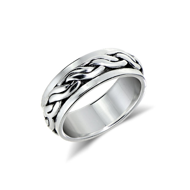 Sterling Silver Braided Oxidized Spinner Band Ring,
