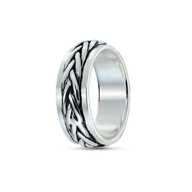 Sterling Silver Knot Oxidized Spinner Band Ring,